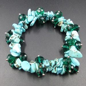 Jewelry - Vintage Genuine Blue Stone Chips Bracelet